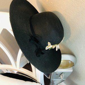 Vintage Black Straw Brim Hat with Floral Decor